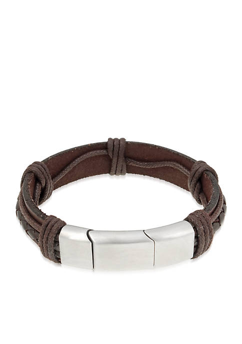Belk & Co. Mens Stainless Steel And Brown