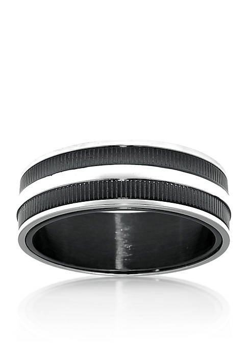 Mens Stainless Steel Ring with Black Ion Plating and Ribbed Texture