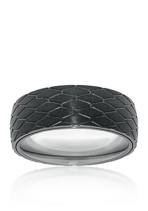 Mens Stainless Steel Black Ion Plated Textured Ring