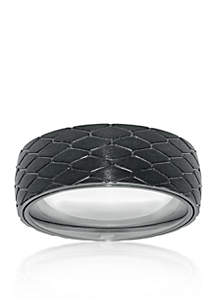 Men's Stainless Steel Black Ion Plated Textured Ring