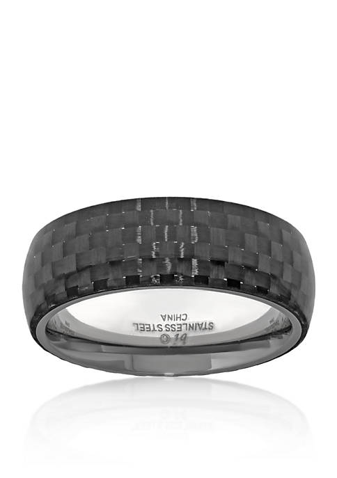 Mens Stainless Steel and Carbon Fiber Ring