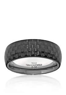 Belk & Co. Men's Stainless Steel and Carbon Fiber Ring