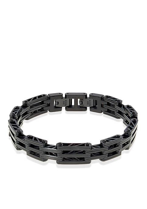 Mens Stainless Steel Bridge Link Bracelet