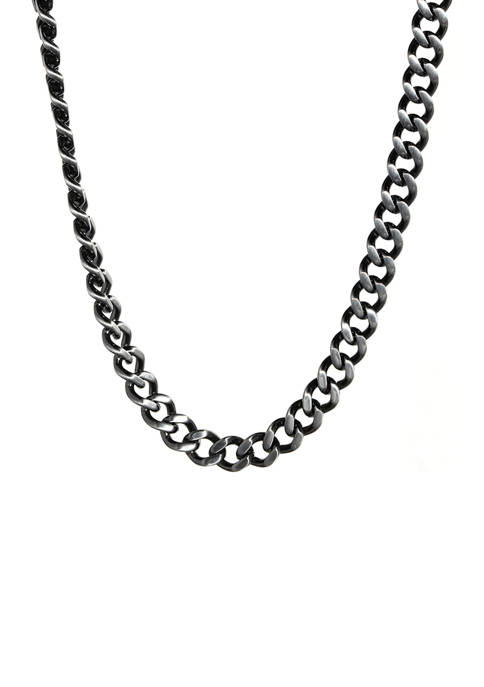 Stainless Steel 9 Millimeter Curb Chain Necklace with Antique Finish, 24 Inch