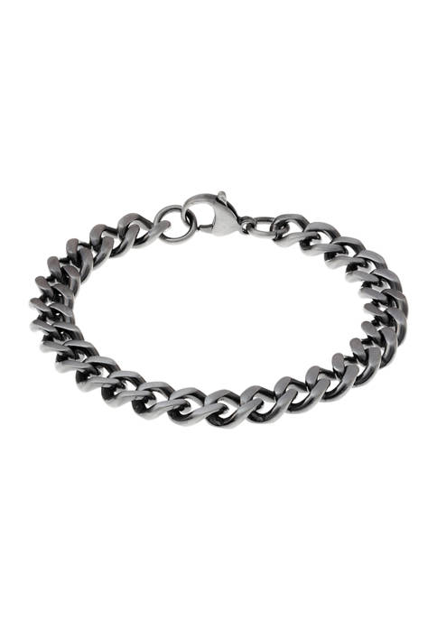 Stainless Steel 9 Millimeter Curb Chain Bracelet with Antique Finish, 8.5 Inch