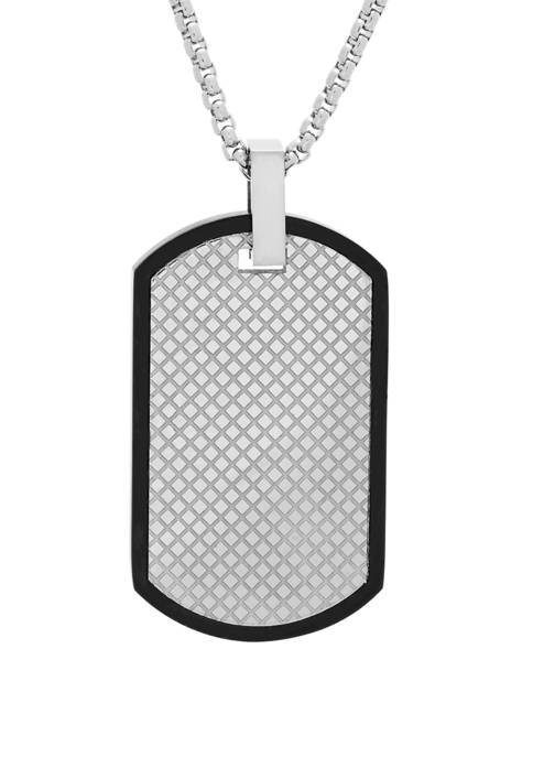 Stainless Steel Dog Tag Pendant Necklace with Texture