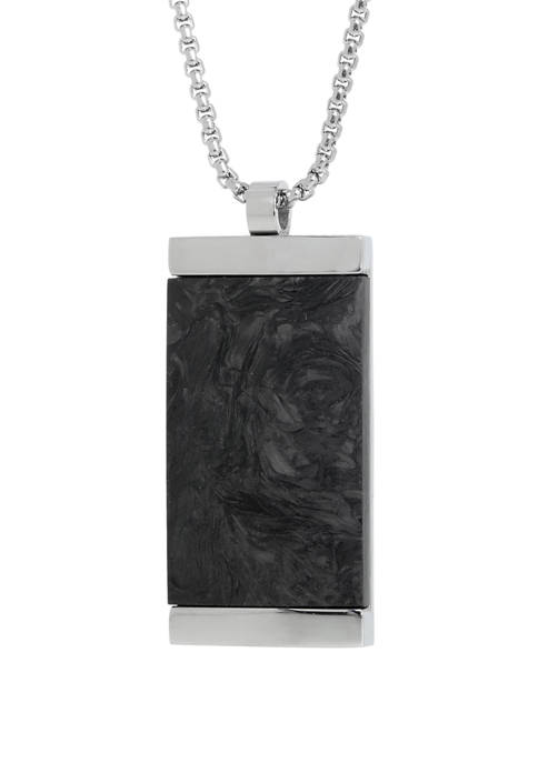 Stainless Forged Carbon Dog Tag Pendant Necklace with 24 Inch Box Chain