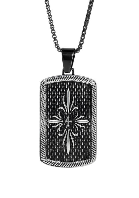 Belk & Co. Stainless Etched Dog Tag Pendant