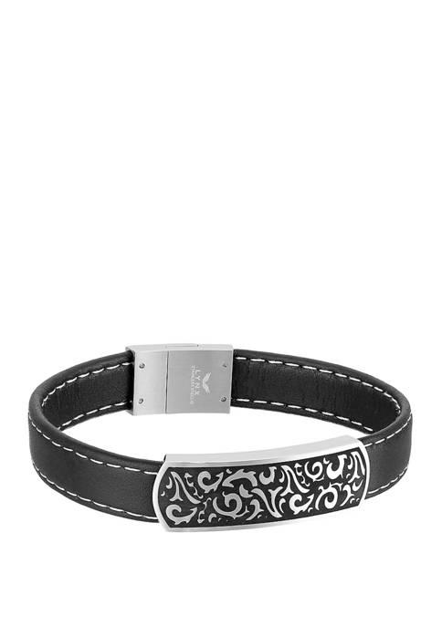 Belk & Co. Stainless Steel Black Leather ID