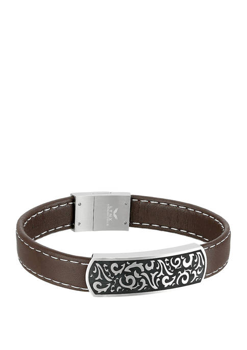 Stainless Steel Brown Leather ID Bracelet