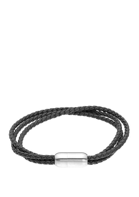 Belk & Co. Black Leather Bracelet with Stainless