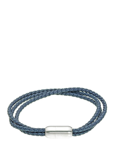 Stainless Blue Leather Bracelet with Magnetic Clasp