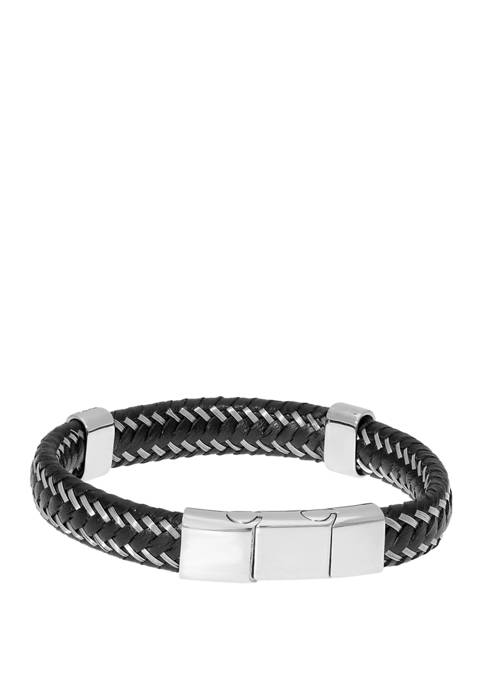 Stainless Steel and Black Leather Bracelet with Magnetic Extender Closure
