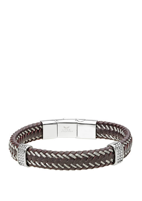 Stainless Steel and Brown Leather Bracelet with Magnetic Extender Closure