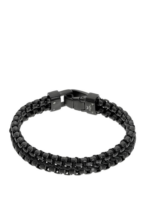 Stainless Steel 2 Row Bracelet with Black Ion Plating