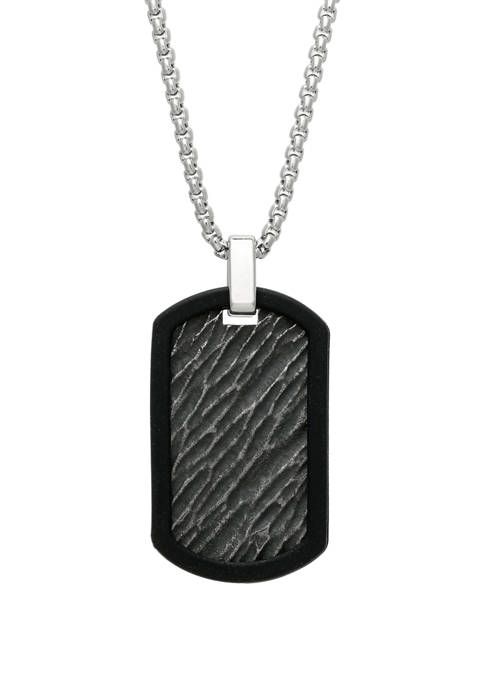 Stainless Steel and Rubber Textured Dog Tag Pendant with Black Ion Plating on 24 Inch Rhodium Chain