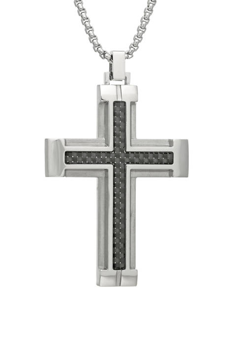 Stainless Steel Cross Pendant Necklace on 24 Inch Rhodium Box Chain