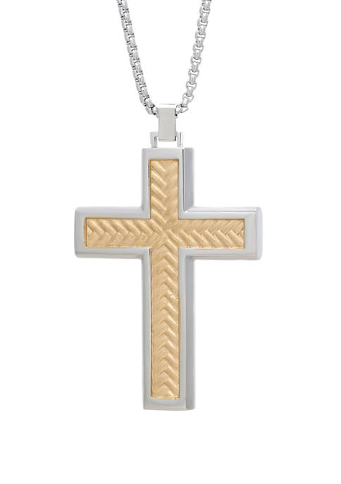 Stainless Cross Pendant Necklace on 24 Inch Rhodium Box Chain