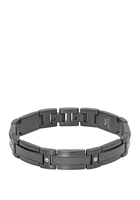 Stainless Steel Bracelet with Carbon Black and Rose Ion Plating with Extender Lock