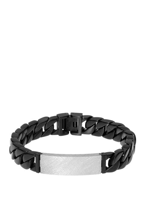 Stainless Steel ID Bracelet with Black Ion Plating