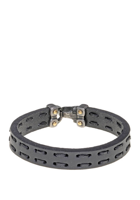 Stainless Steel and Black Leather Bracelet with Gold Tone Ion Plating