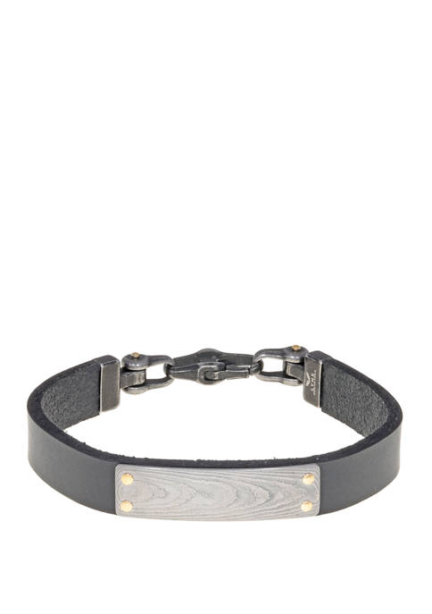 Damascus Steel and Black Leather Bracelet with Gold Ion Plating