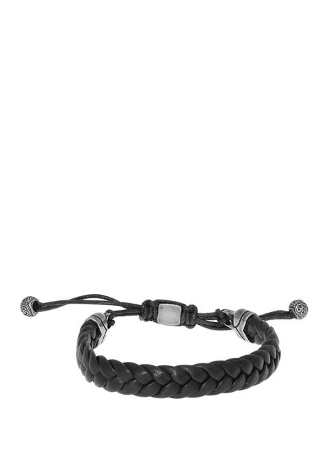 Stainless Steel Braided Black Leather Bracelet with Drawstring