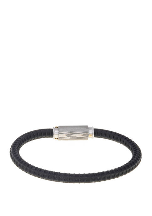 Belk & Co. Damascus Steel and Silicone Bracelet