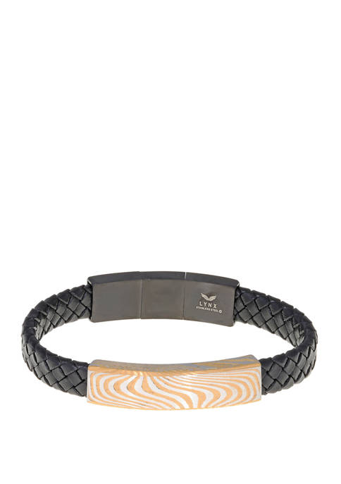 Belk & Co. Damascus Steel and Leather Bracelet