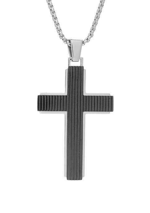 Stainless Steel Cross Pendant on Round Box 24 Inch Chain
