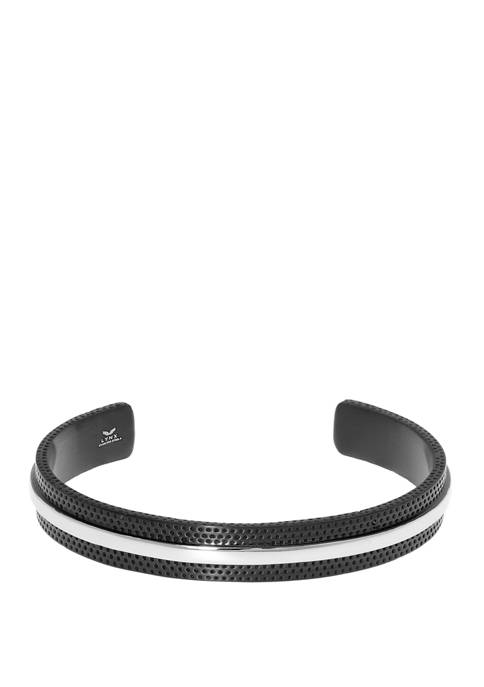 Stainless Steel Textured Cuff Bangle with Black IP