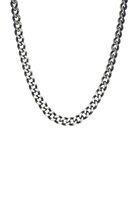 Stainless Steel Two Tone Neck with Gray IP 24 Inch Chain