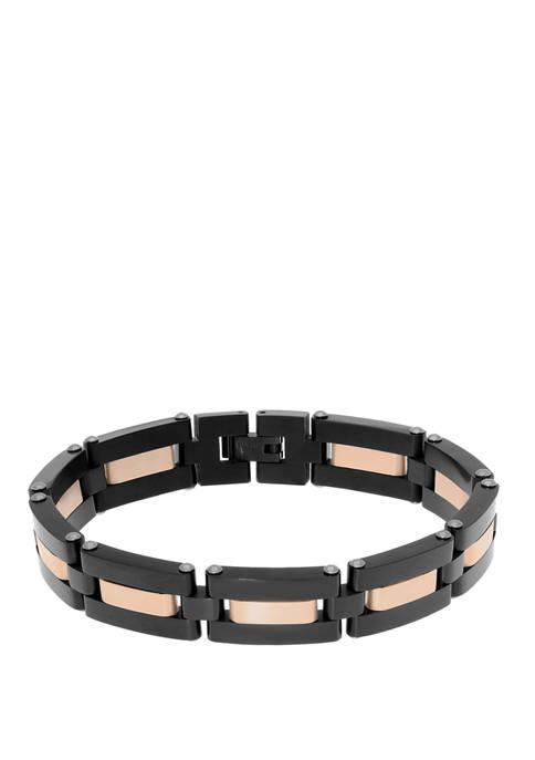 Belk & Co. Stainless Steel Bracelet with Black