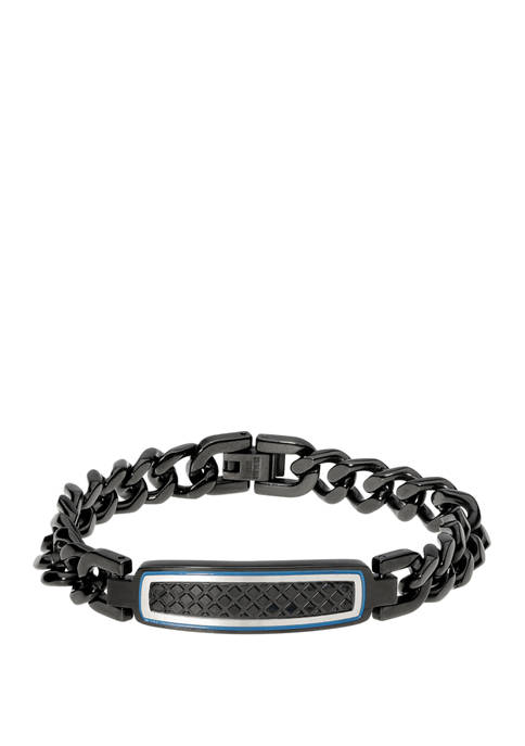 Stainless Steel Id Bracelet with Black Ip and Blue Enamel