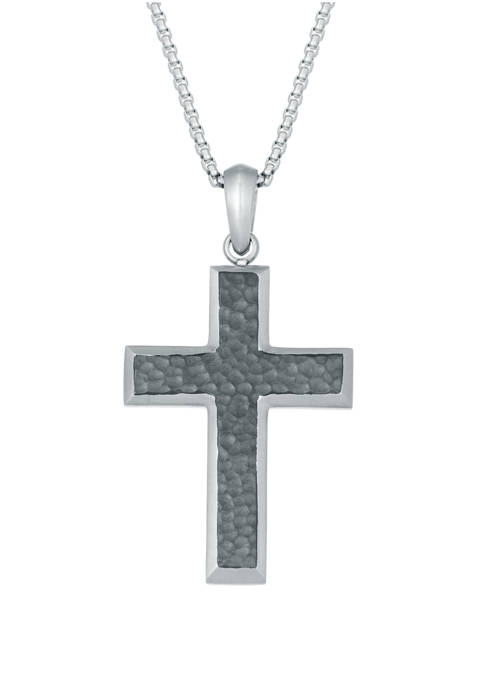 Stainless Steel Hammered Cross Pendant on 24 Inch Round Box Chain