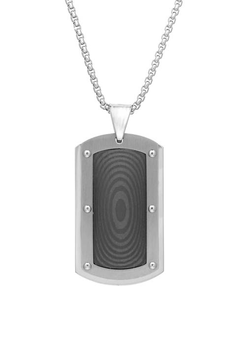 Stainless Steel Dog Tag Pendant with Carbon Fiber on 24 Inch Box Chain