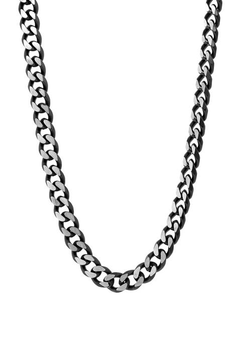 Stainless 8 Millimeter Curb Necklace with Black IP Extender