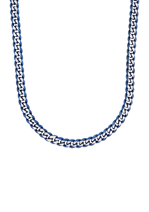 Stainless Steel 8 Millimeter Curb Chain Necklace with Blue Ion Plating, 24 Inch