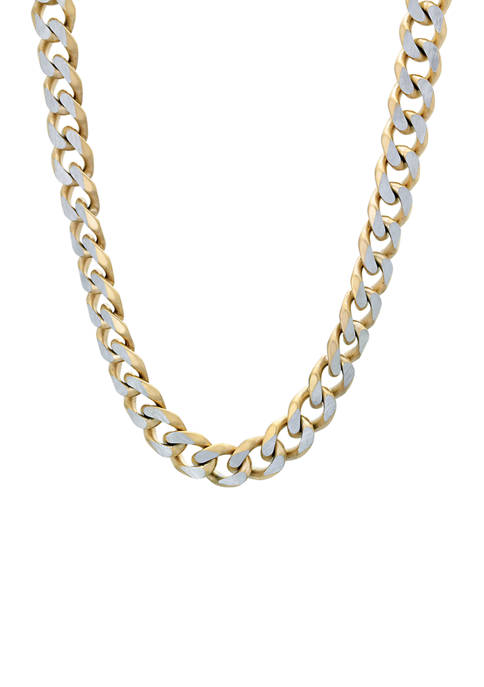 Stainless Steel 8 Millimeter Curb Chain Necklace with Gold Tone Ion Plating, 24 Inch