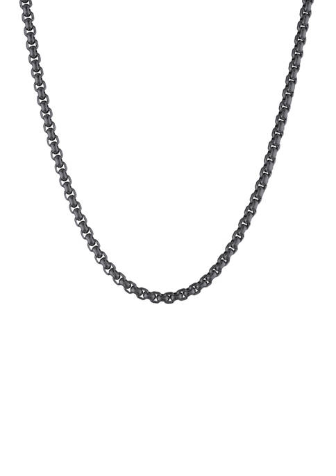 Stainless Black IP Square Rolo Necklace with Satin Finish