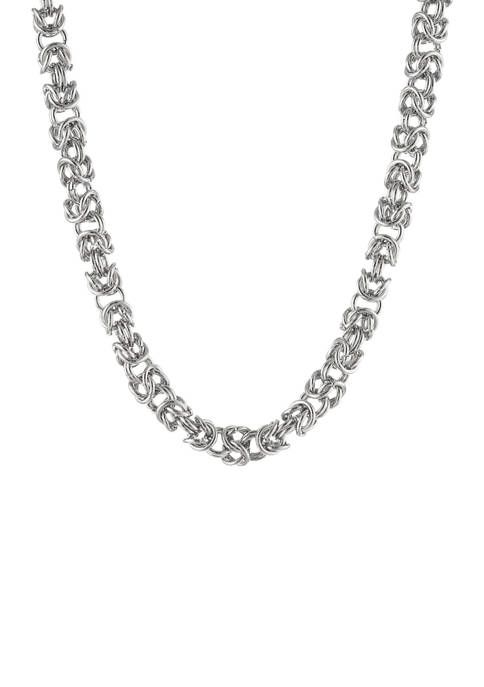 Stainless Steel 6 Millimeter Byzantine Chain Necklace, 18 Inch
