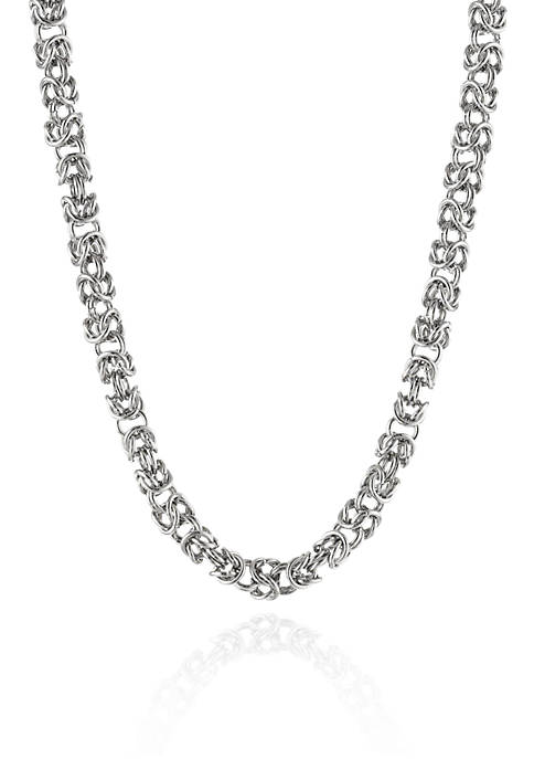 Belk & Co. Mens Stainless Steel Byzantine Necklace