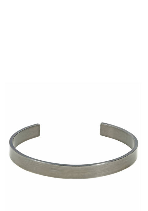 Stainless Steel Cuff Bangle with Gray