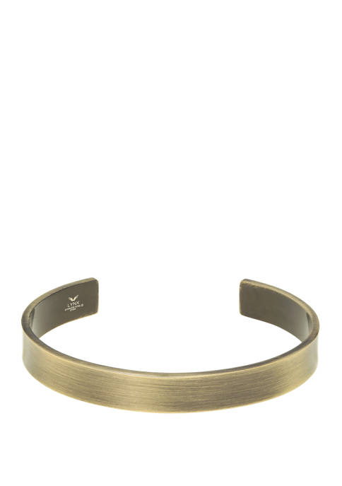 Stainless Steel Cuff Bangle with Antique Gold