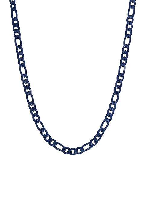 Stainless Steel 6 Millimeter Figaro Chain Necklace with Blue Acrylic