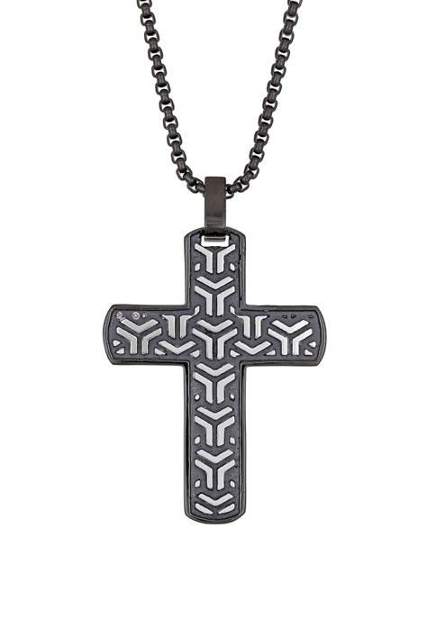 Belk & Co. Stainless Steel Black IP Cross