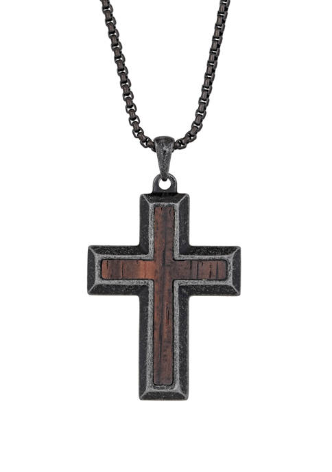 Stainless Steel Antique Finish Cross Pendant with Wood and 24 Inch Chain