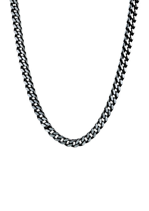 Stainless Steel 6 Millimeter Foxtail Chain Necklace with Black Ion Plating and Push Lock, 24 Inch