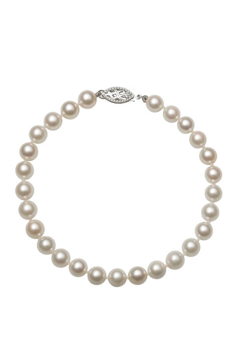 6 Millimeter AA Quality Akoya Cultured Pearl 7.5 Inch Bracelet with 14K White Gold Clasp