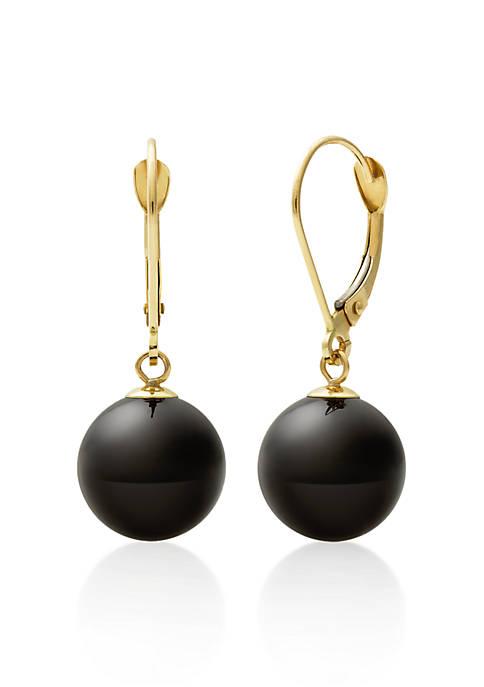 Belk & Co. 10k Yellow Gold Oynx Earrings